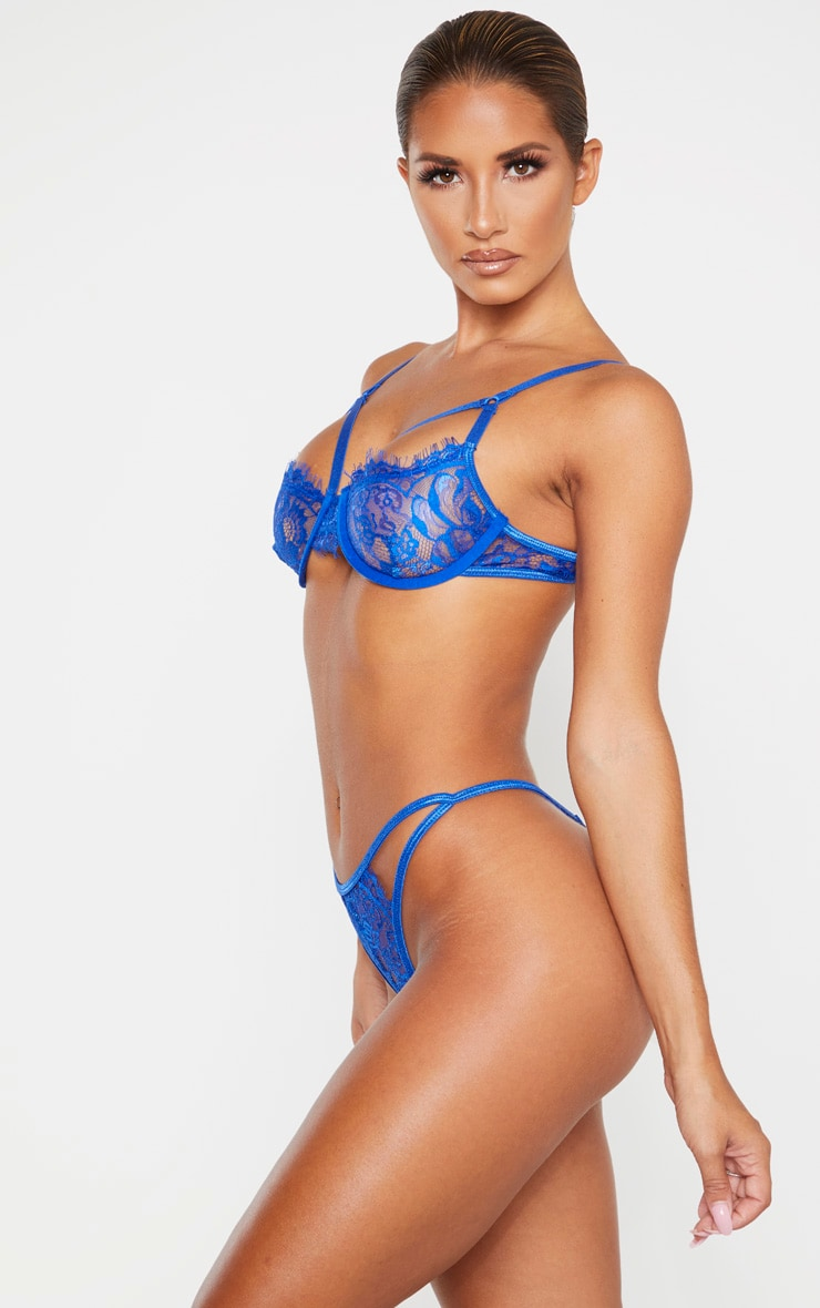 Cobalt Eyelash Lace Strappy Thong 2