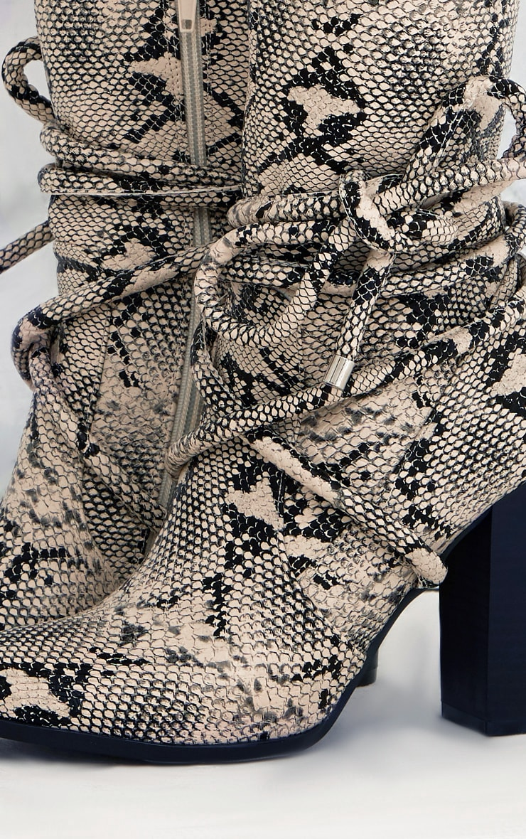 Grey Snake Print Tie Detail Heeled Ankle Boots 5