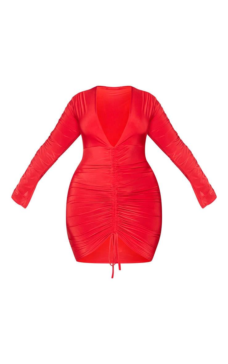 Plus Red Slinky Ruched Front Long Sleeve Dress 5