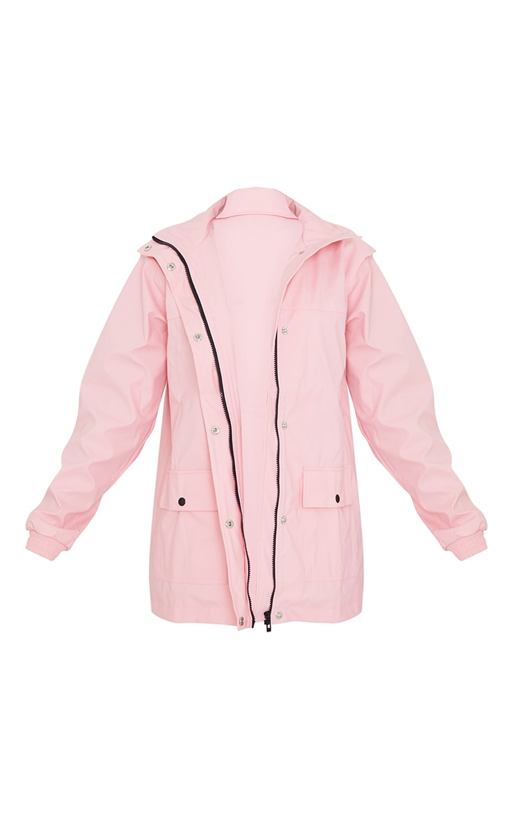 Pink Pocket Front Waterproof Rain Mac 5