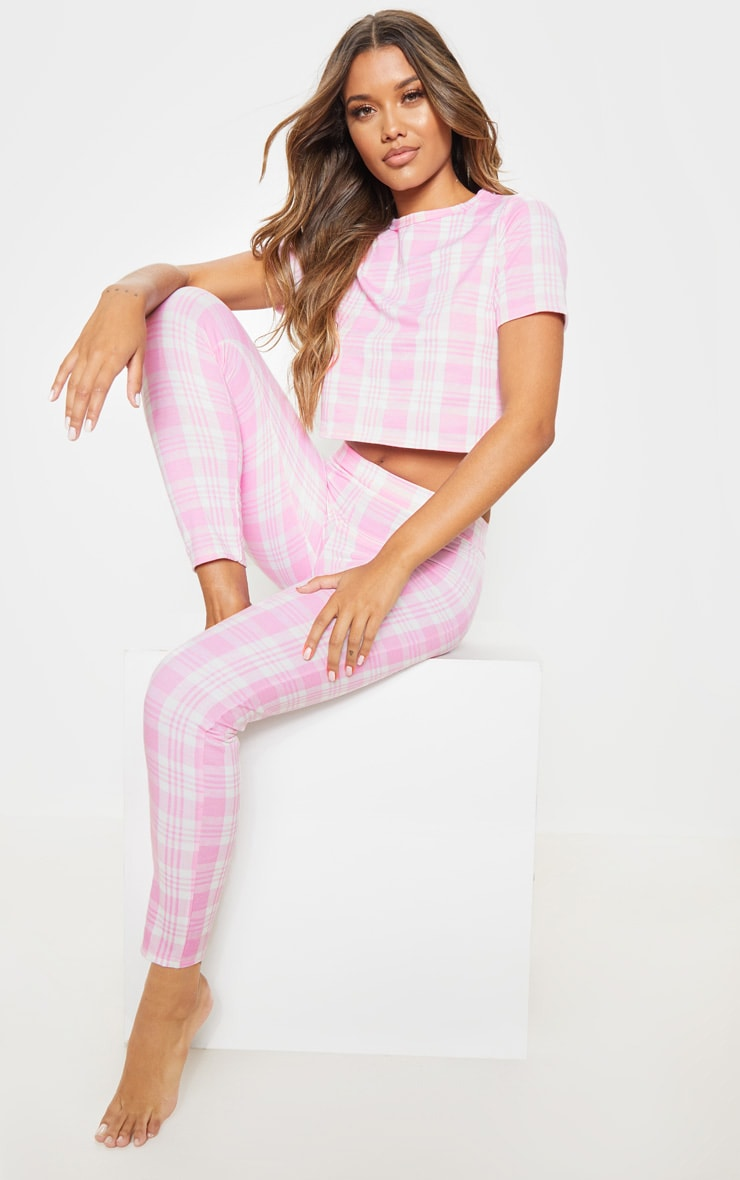 Pink Check Short Sleeve Lounge Top 4