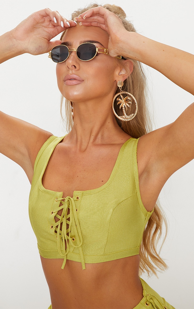 Olive Scoop Neck Contrast Lace Up Bandage Bikini Top 5