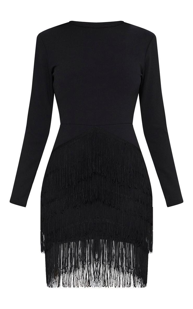 Black Long Sleeve Tassel Detail Bodycon Dress 3