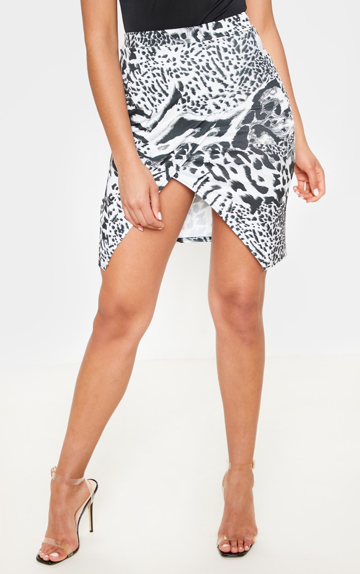 Monochrome Mix Animal Crepe Printed Wrap Skirt 2