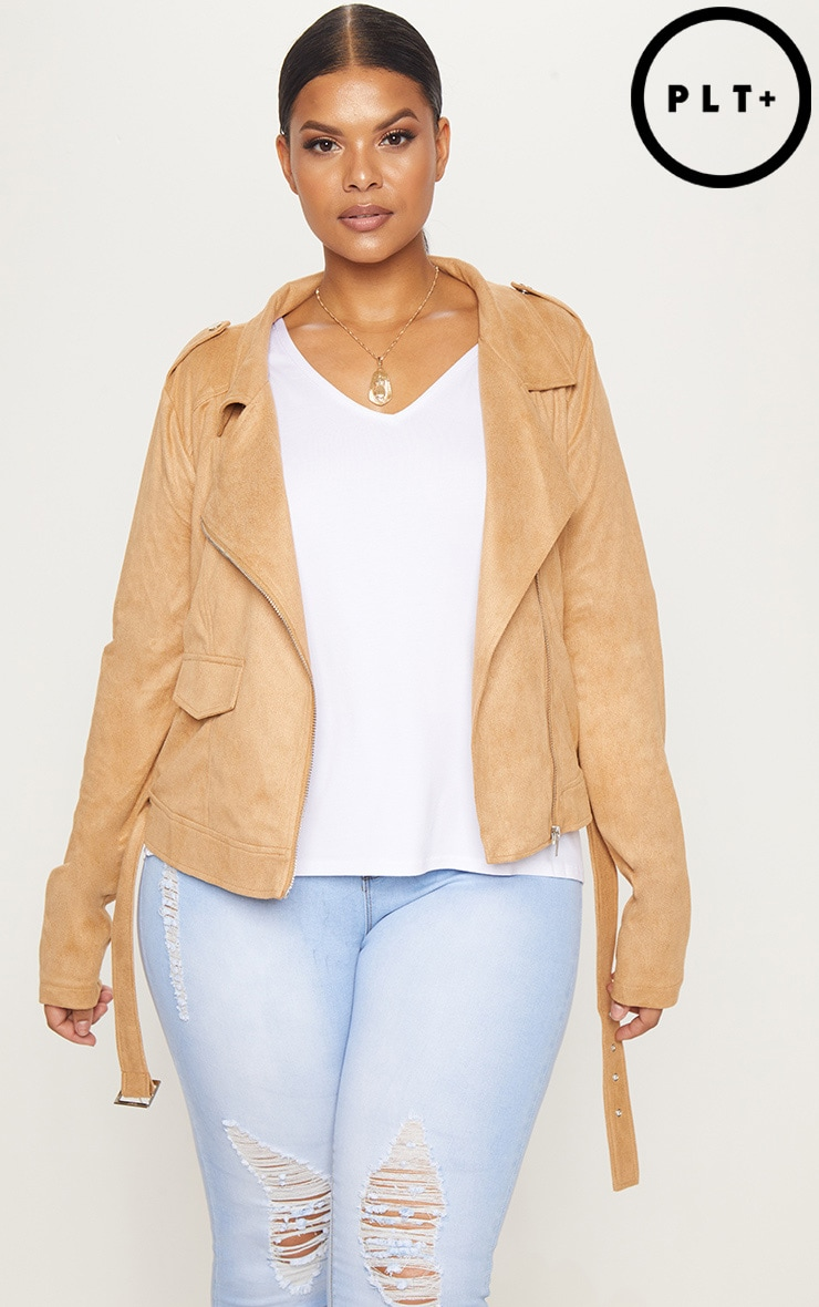 Plus Tan Faux Suede Biker Jacket 1