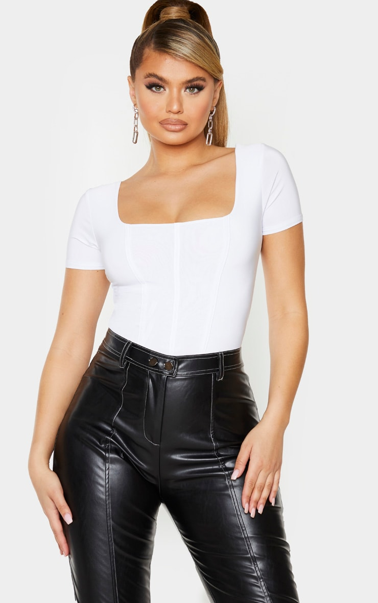 White Slinky Boned Short Sleeve Bodysuit 1