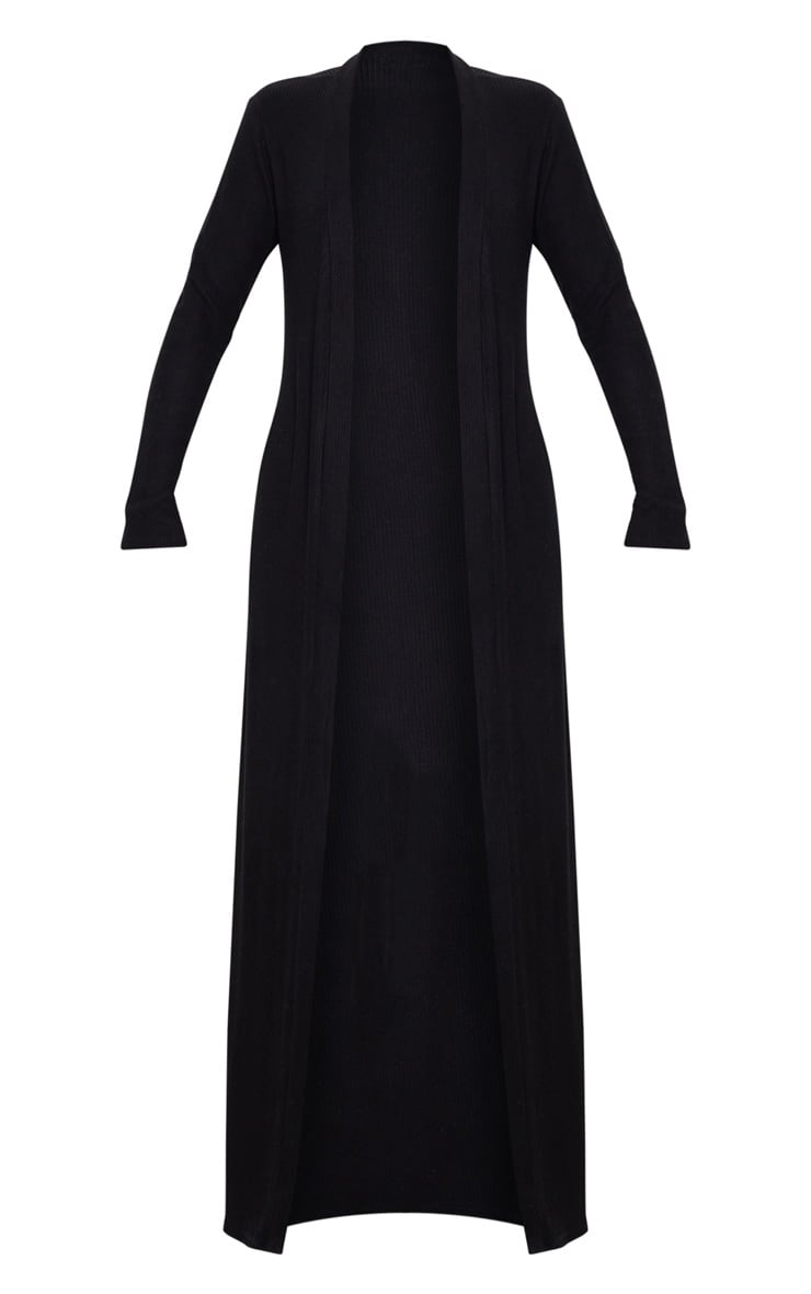 Black Brushed Rib Maxi Cardigan 3