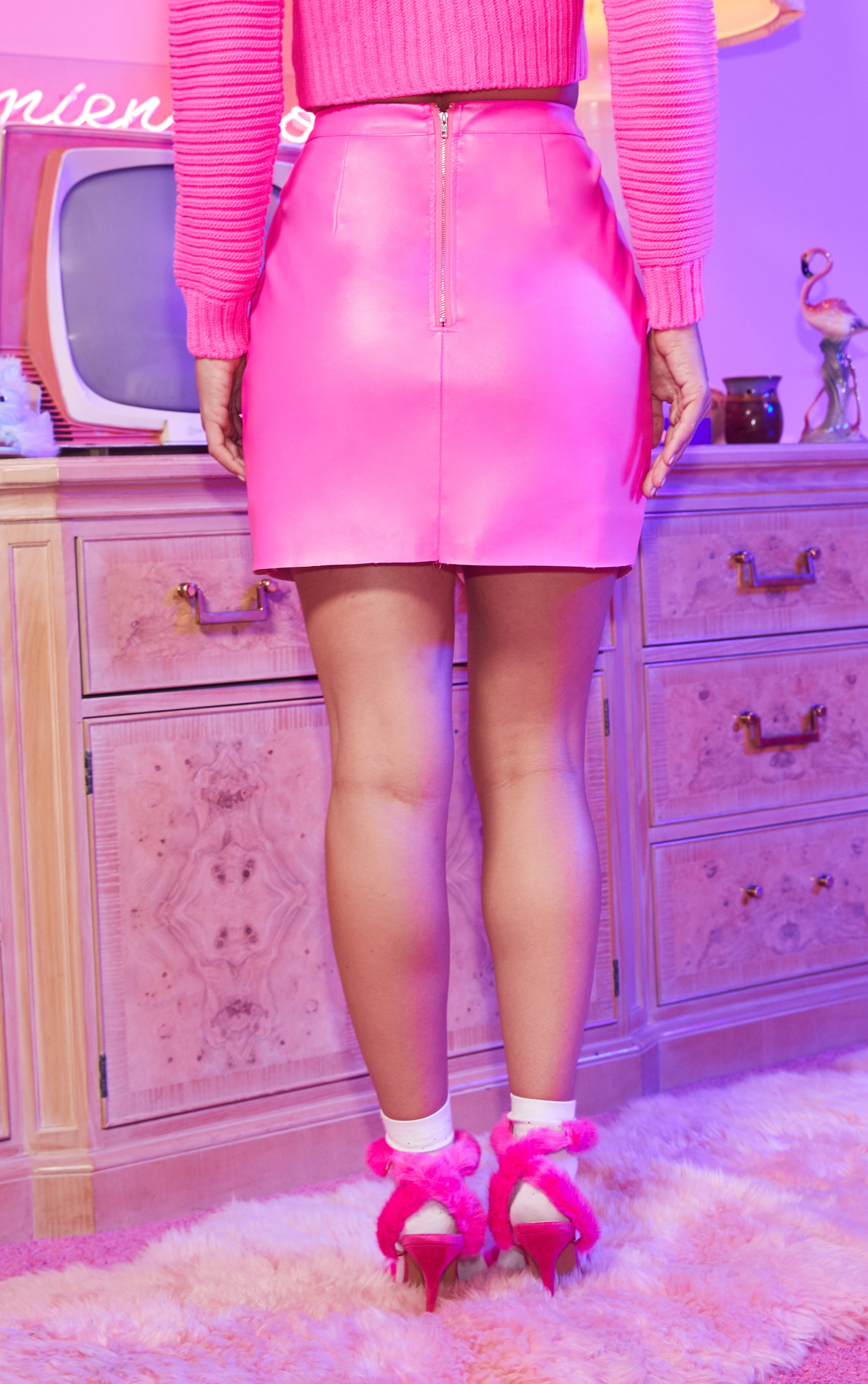 Hot Pink Faux Leather Wrap Mini Skirt 4