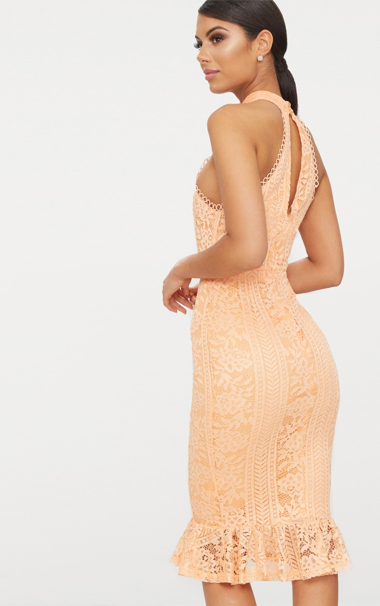 Tangerine Lace Cut Out Frill Detail Midi Dress  2