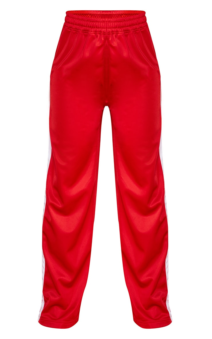 Red Sports Stripe Wide Leg Joggers 5