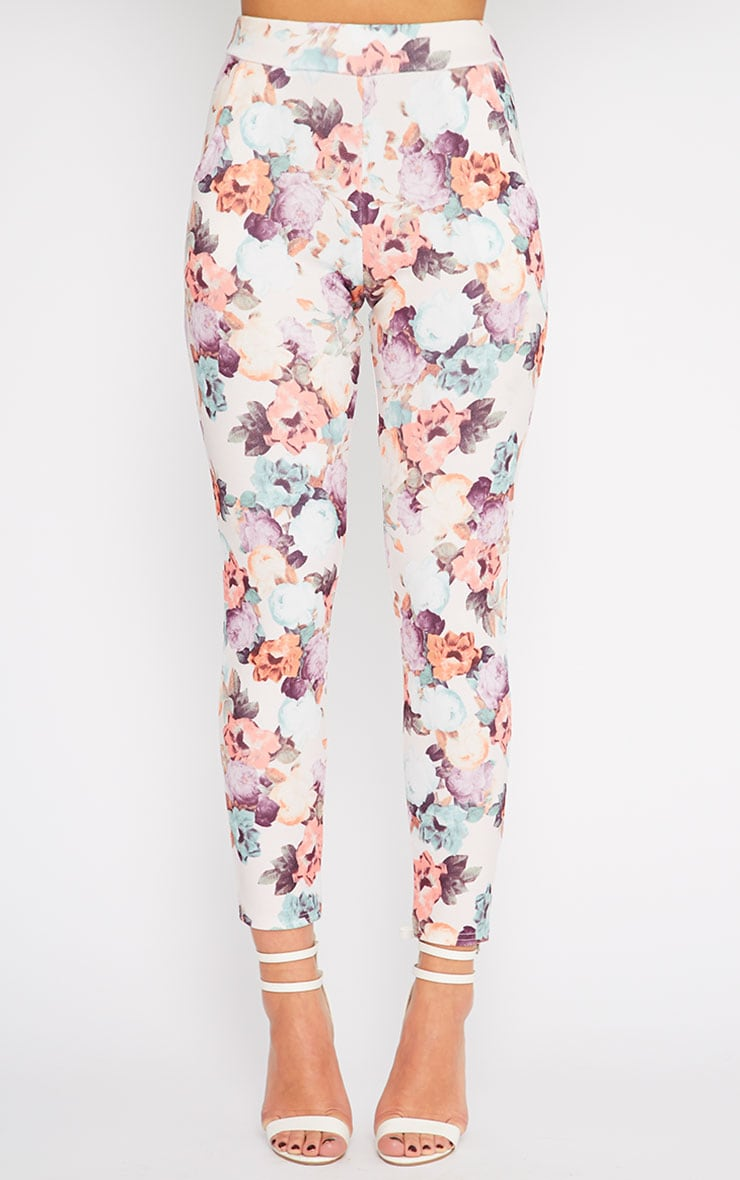 Louisa Cream Floral Print Cigarette Trousers 2