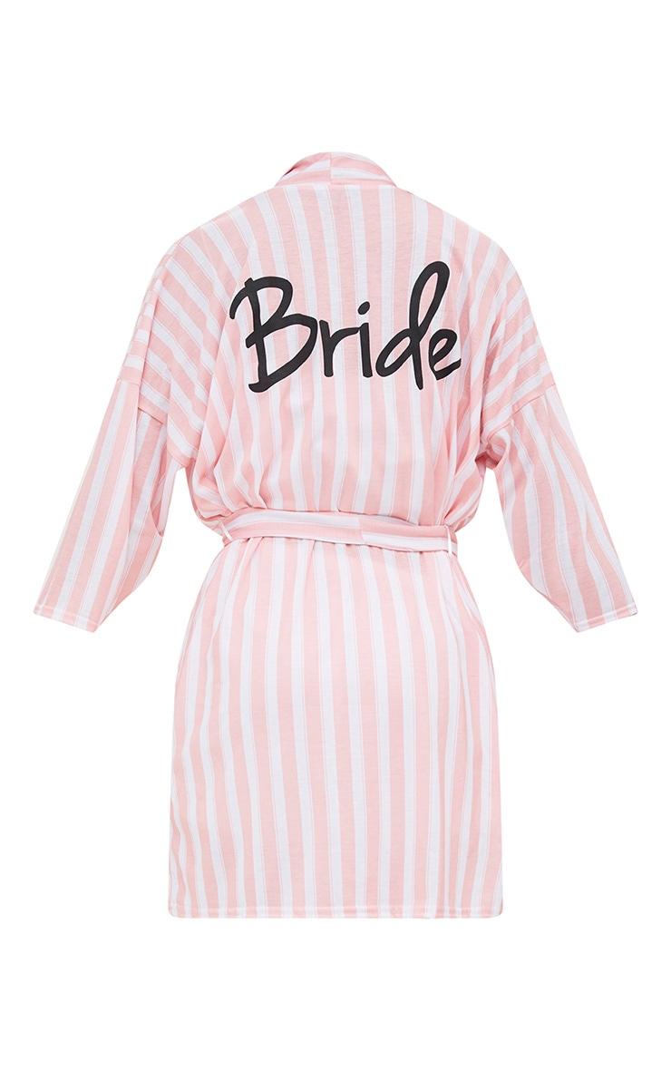 Pink Stripe Bride Dressing Gown 4