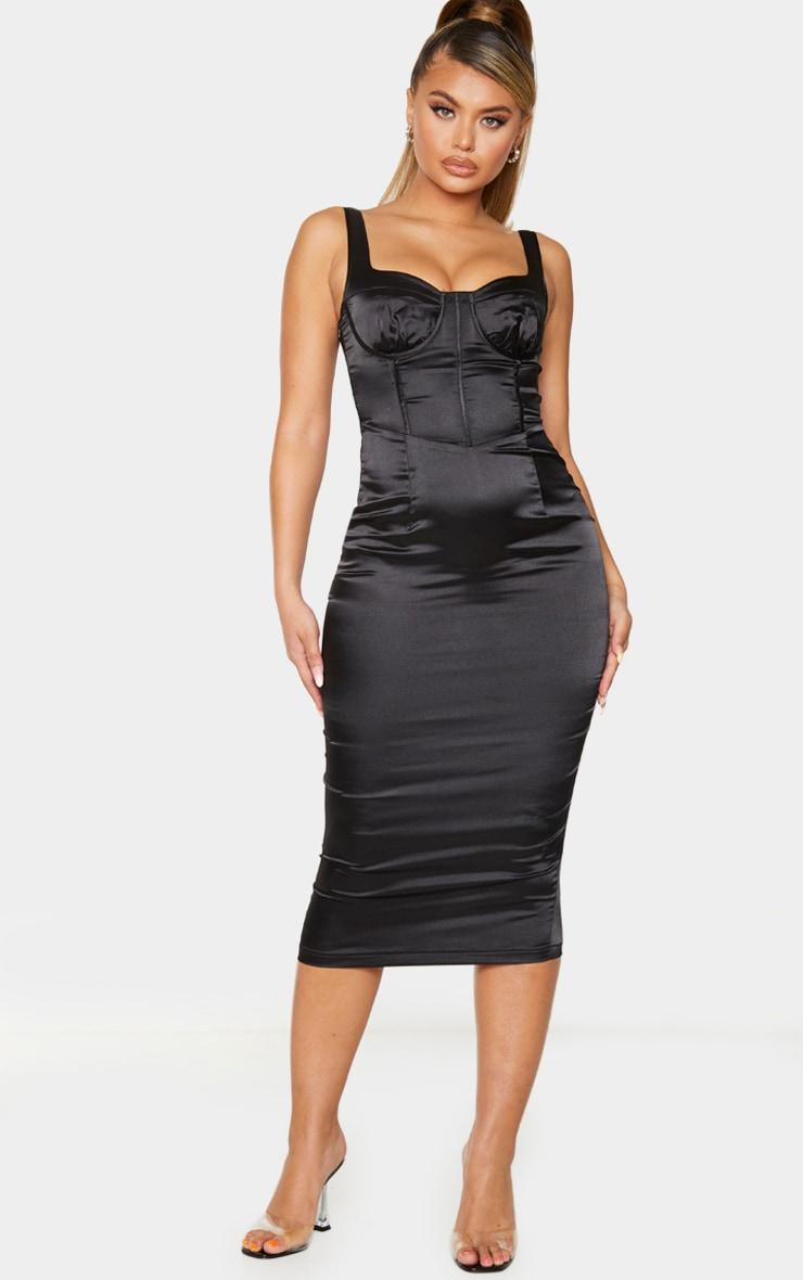 Black Satin Cup Detail Sleeveless Midi Dress 1