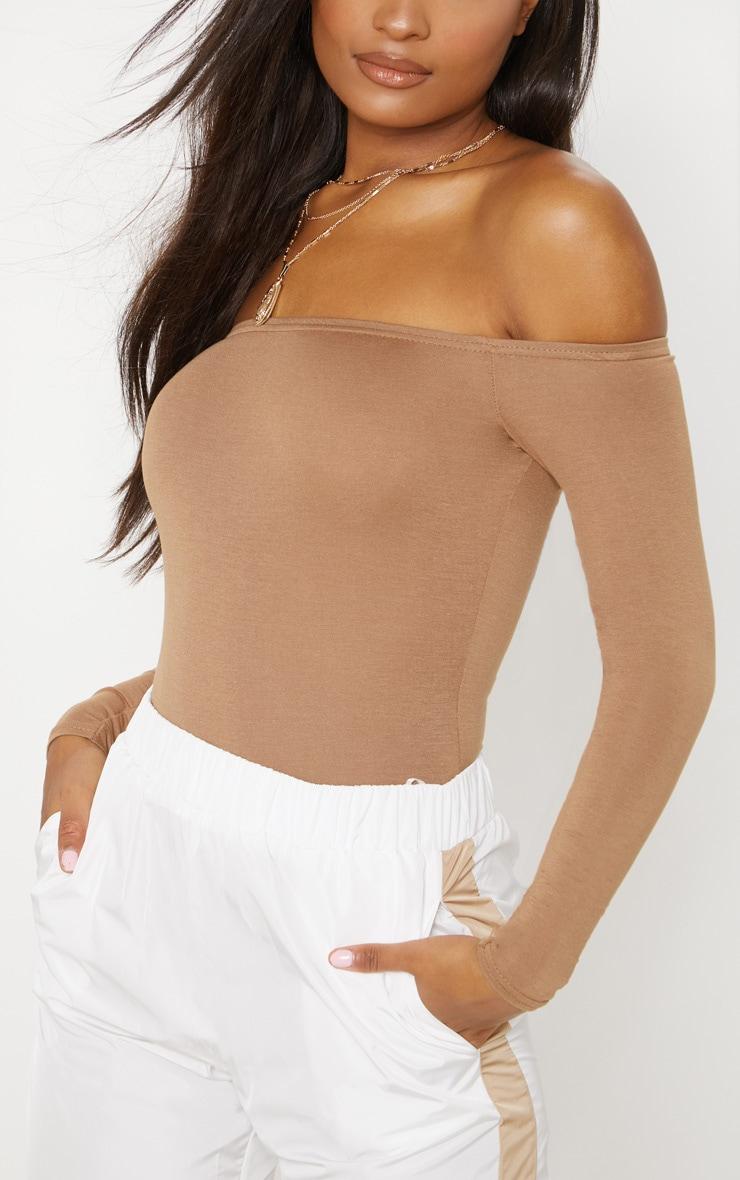 Basic Camel Bardot Bodysuit 6
