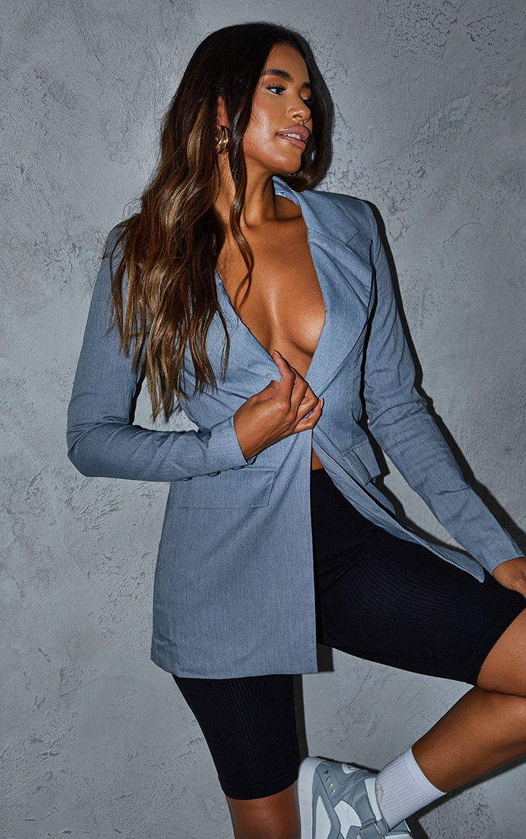 Grey Cinched Longline Shoulder Padded Blazer 1