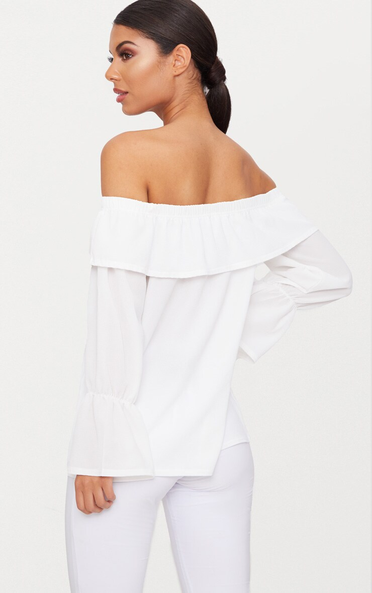 White Chiffon Frill Detail Bardot Top  2