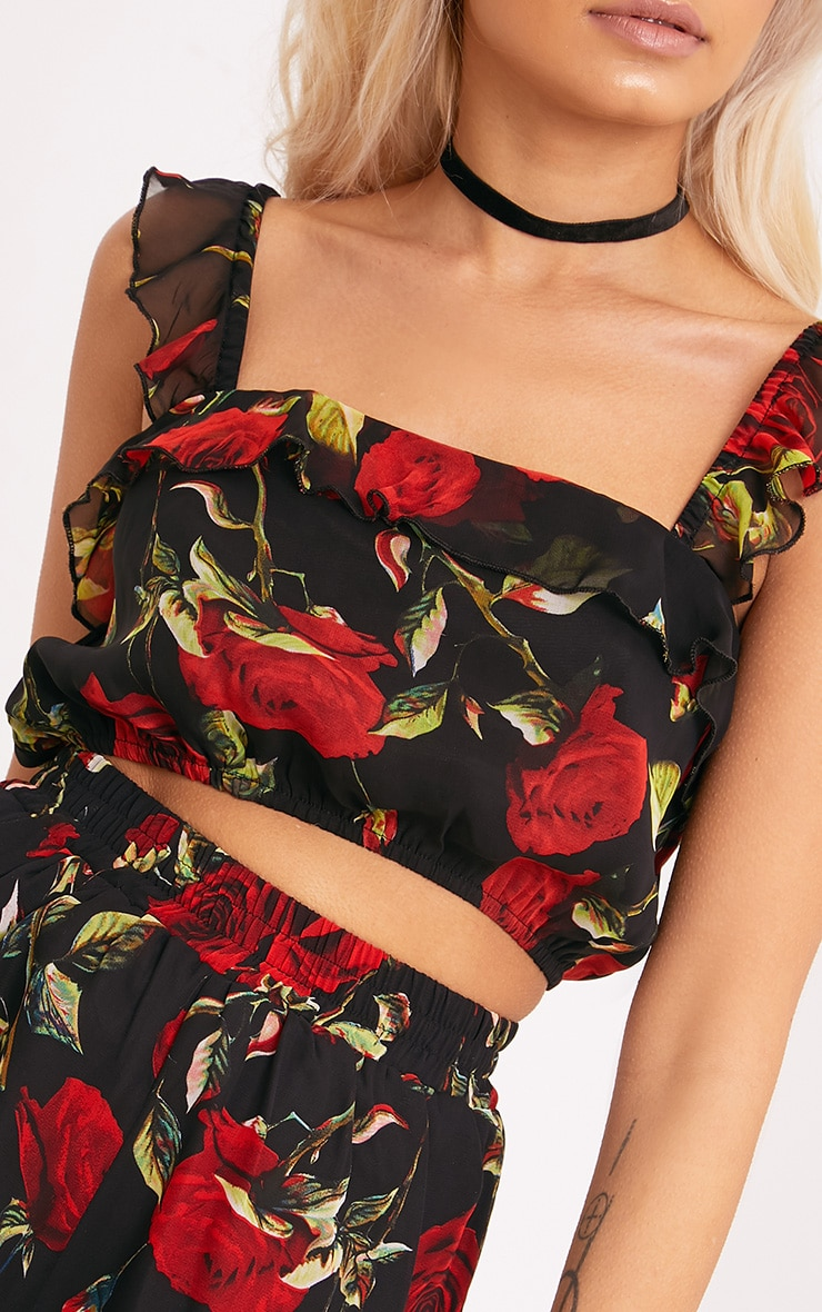 Destini Black Floral Print Ruffle Strap Crop Top  5