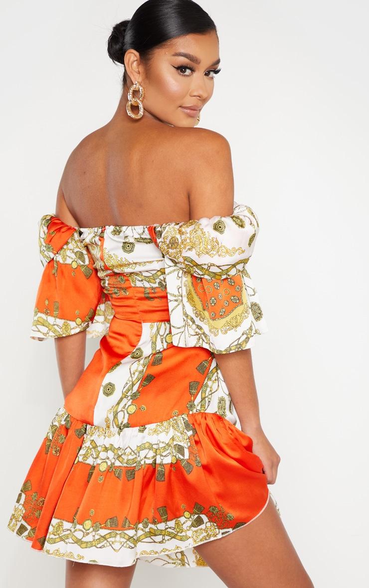 Orange Chain Print Bardot Shift Dress  2