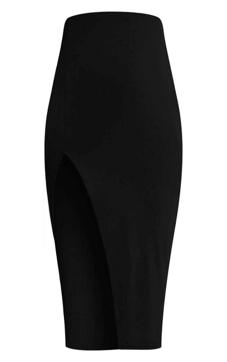 Harla Black Jersey Split Midi Skirt 3