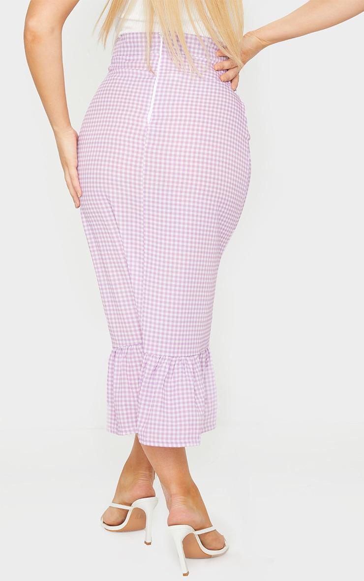 Lilac Gingham Frill Hem Midaxi Skirt 3