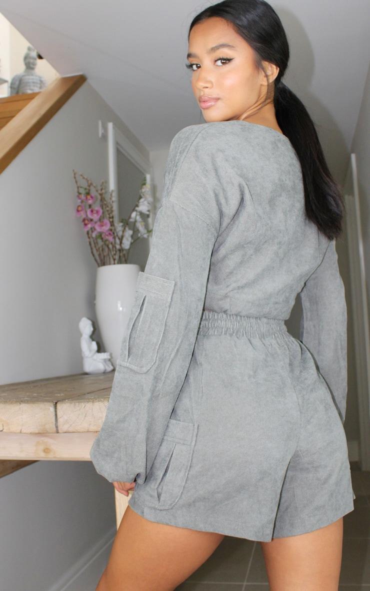 Petite Grey Light Weight Cord Half Zip Long Sleeve Pullover 2