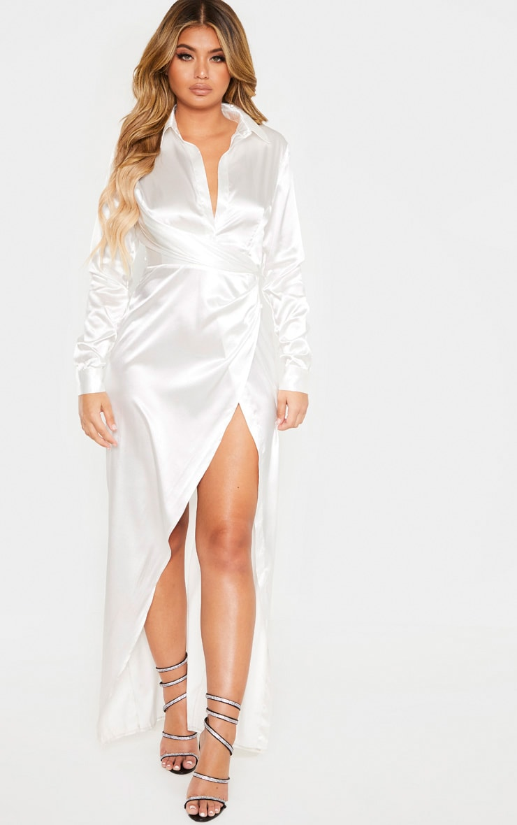 White Satin Drape Extreme Split Maxi Shirt Dress 1
