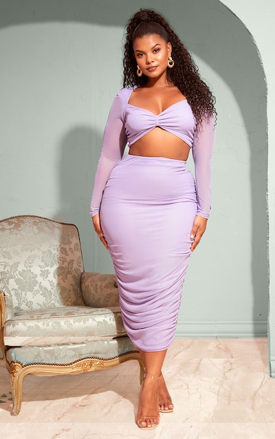b73735b0868 Plus Lilac Mesh Ruched Midi Skirt