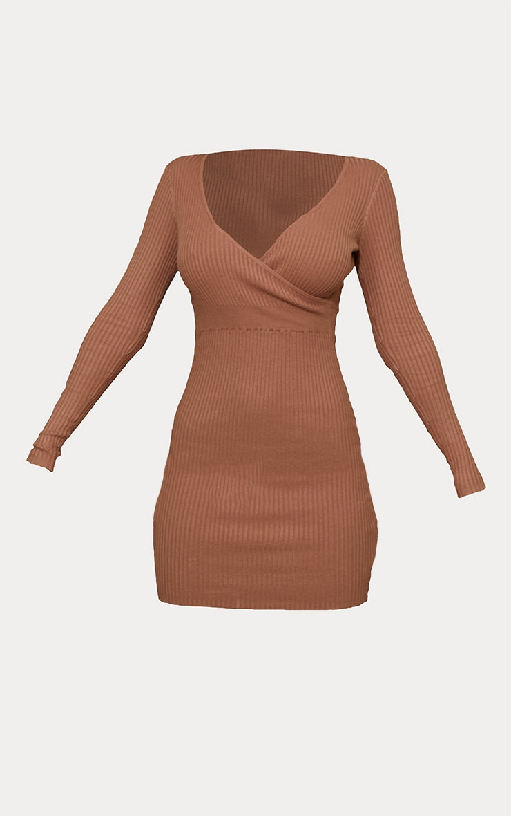 Camel Skinny Ribbed Knitted Wrap Front Bodycon Dress 5