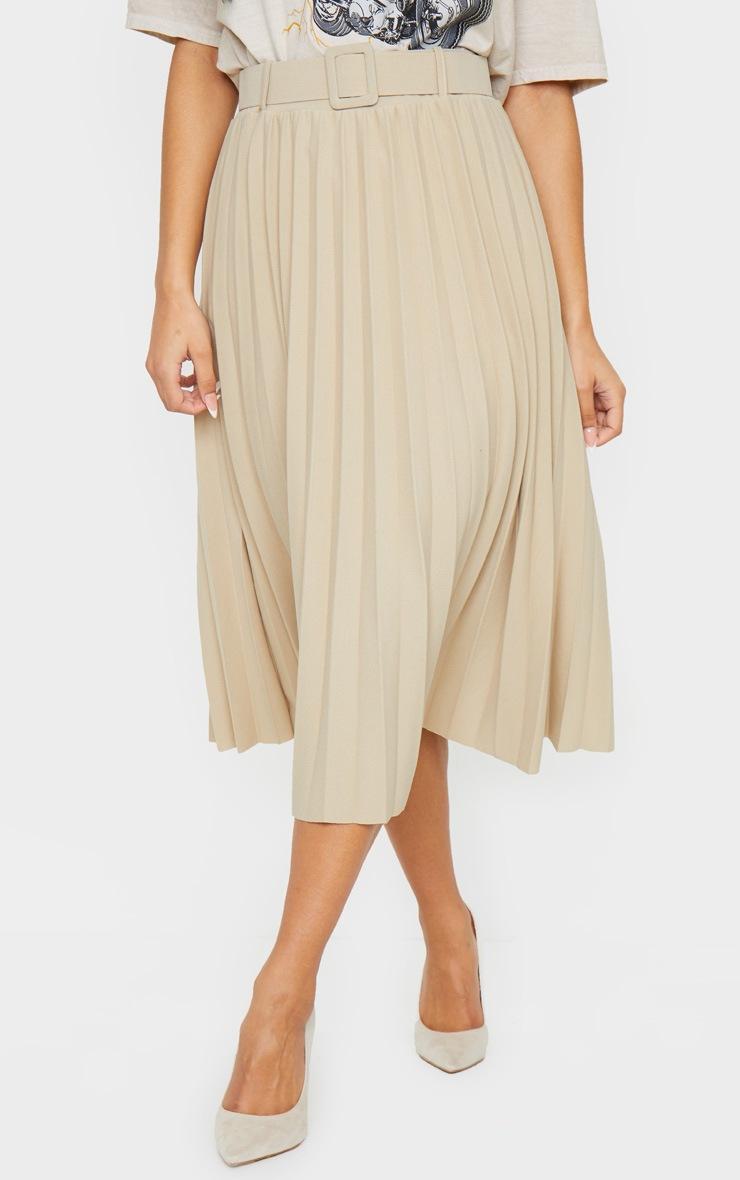 Stone Pleated Belted Midi Skirt 2
