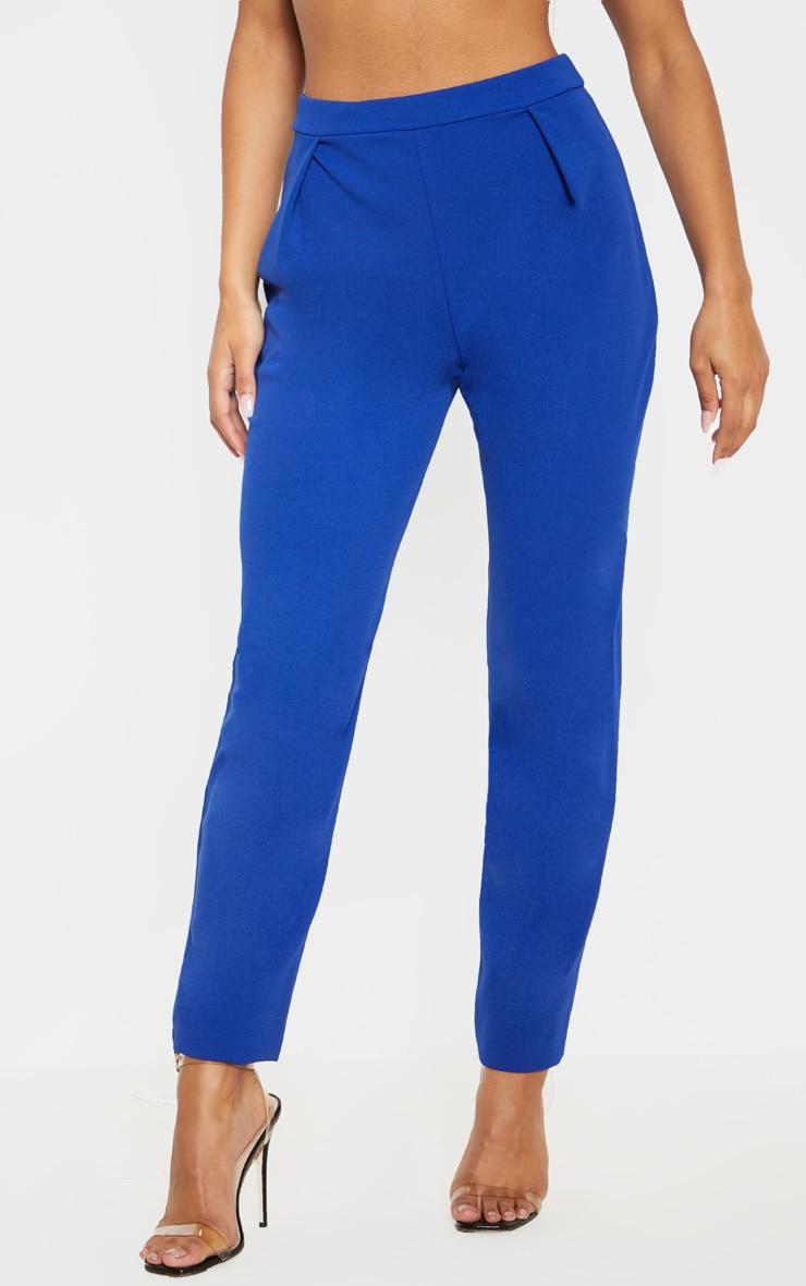 Pantalon cigarette en crêpe bleu 2