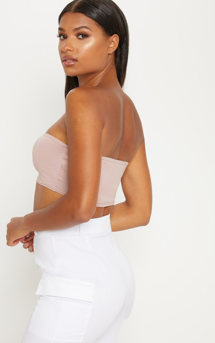 Dusty Pink Cotton Stretch Bandeau Crop Top  2