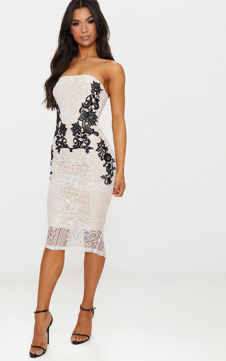 White Contrast Lace Bandeau Midi Dress 4