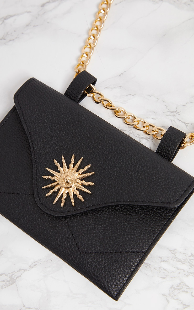 Black Sundial Chain Belted Bum Bag 4
