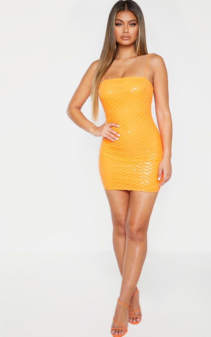 Robe moulante à bretelles orange fluo à sequins col droit 1