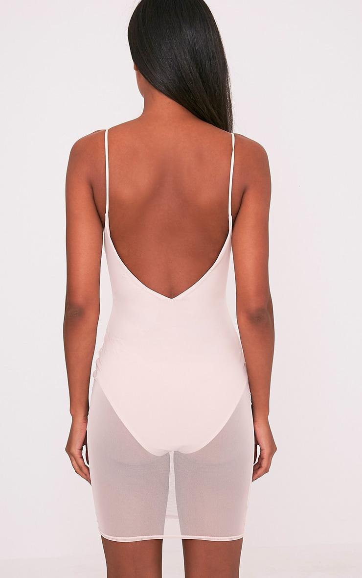 Kyiah Nude Mesh Overlay Bodycon Dress 2