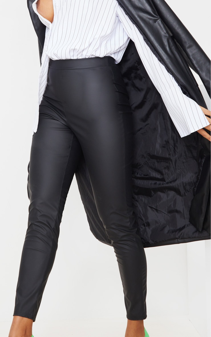 Black Matte Faux Leather Leggings 5
