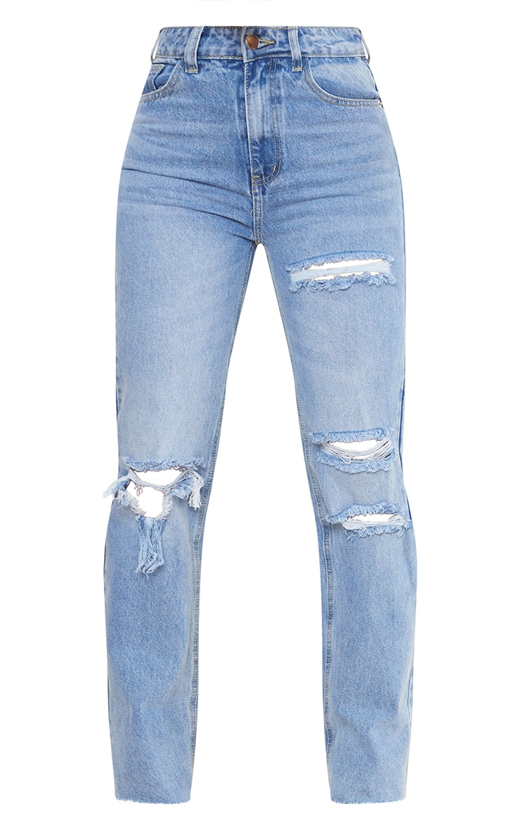 PRETTYLITTLETHING Light Blue Wash Ripped Long Leg Straight Jeans 5