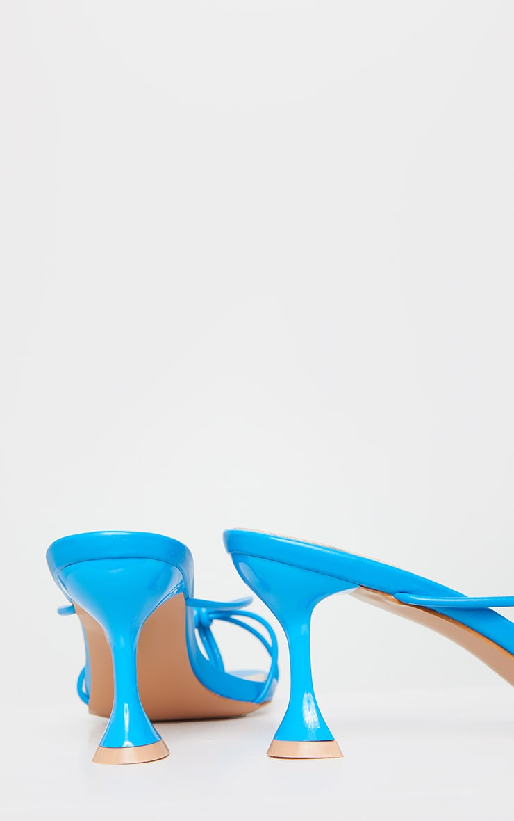 Bright Blue Knot Toe Thong Low Heel Cake Stand Mules 4