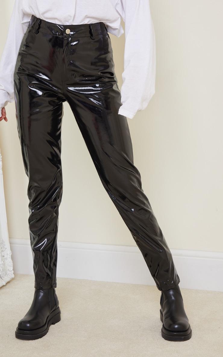 Black Skinny Vinyl Pants 2