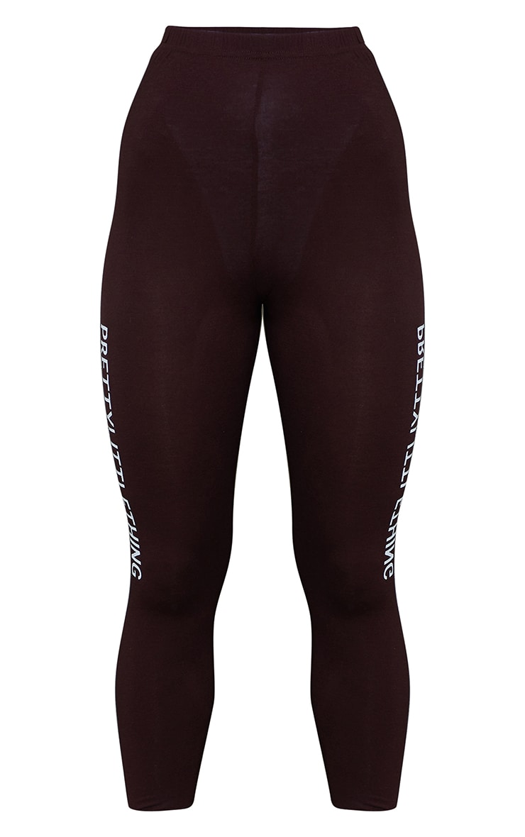 PRETTYLITTLETHING Brown Logo Leggings 5