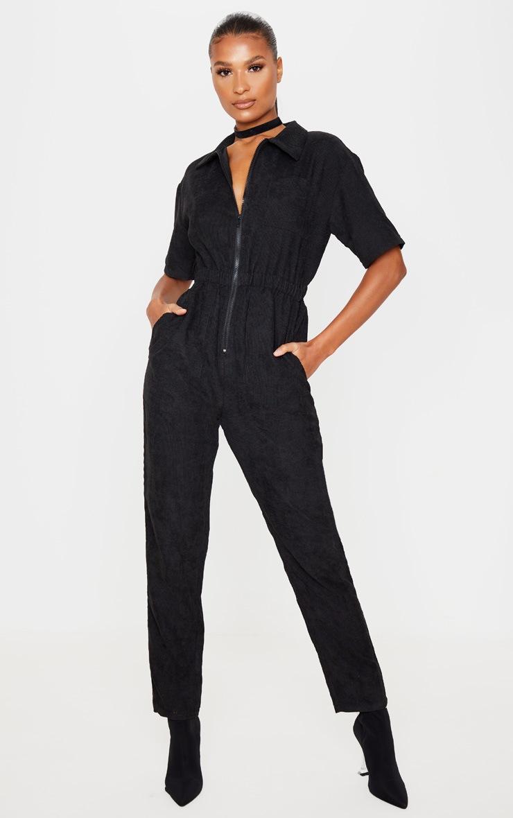 Black Cord Zip Through Short Sleeve Jumpsuit 4