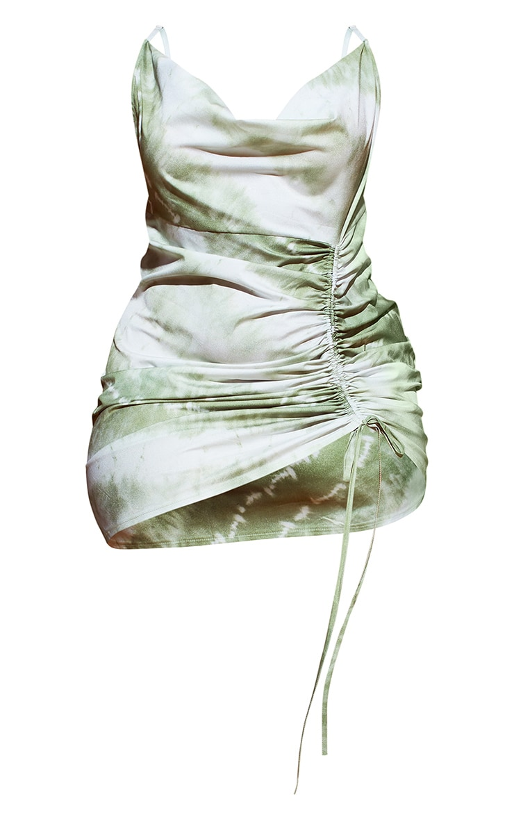 Plus Khaki Tie Dye Cowl Ruched Front Bodycon Dress 5