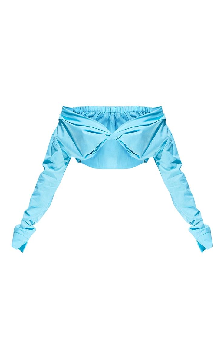 Blue Poplin Bardot Twist Front Crop Blouse 5