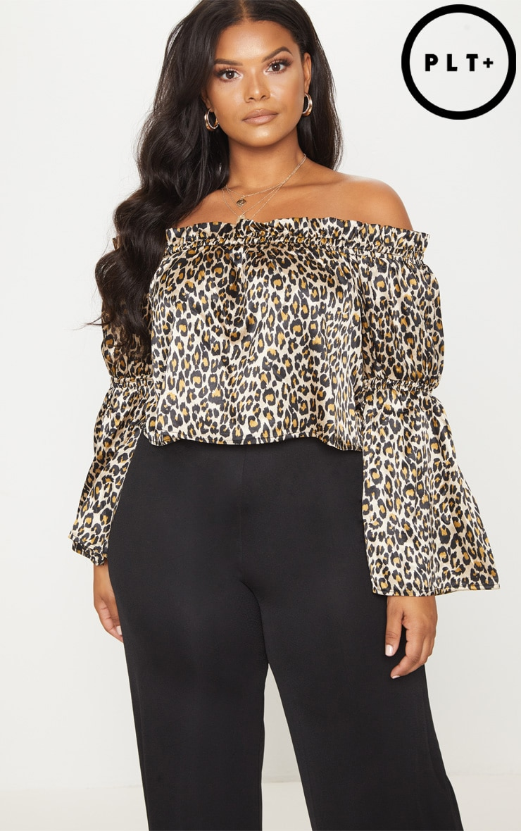 Plus Brown Leopard Print Bardot Crop Blouse  1