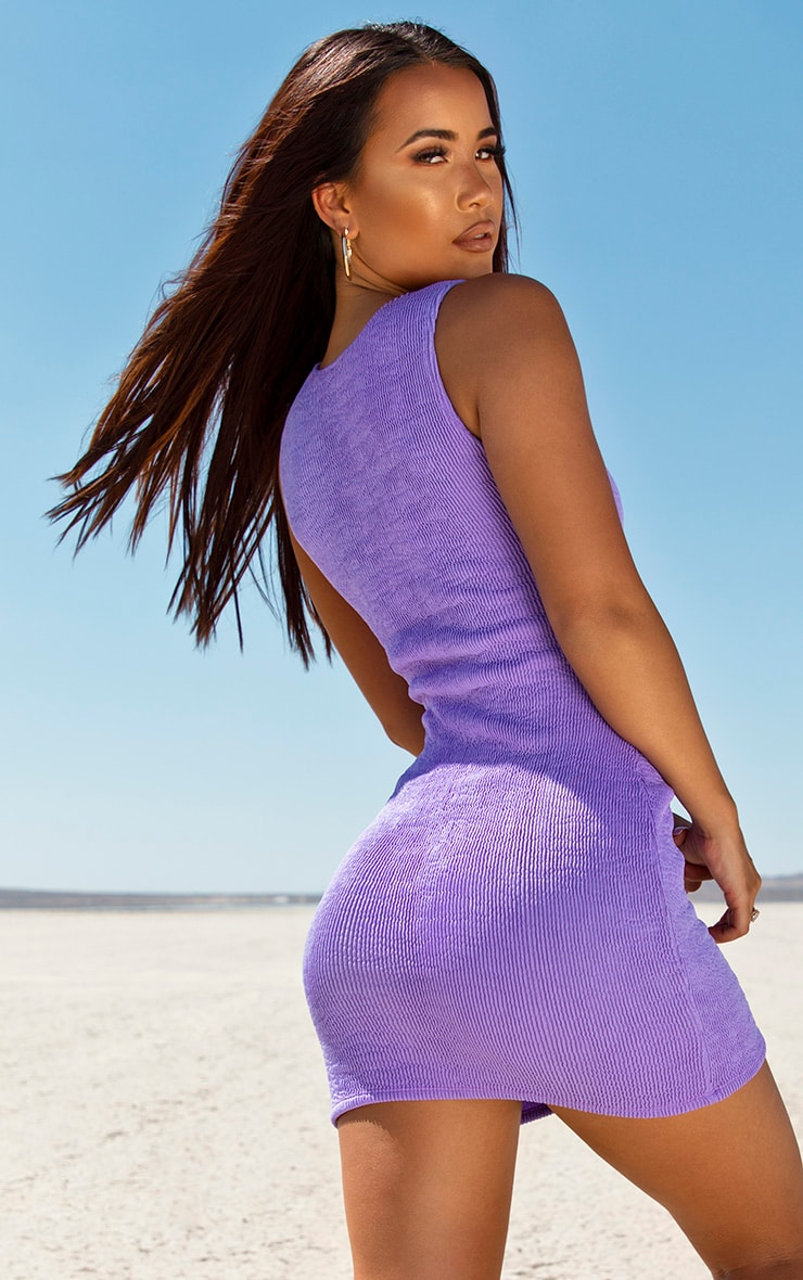 Purple Cut Out Mini Beach Dress 2