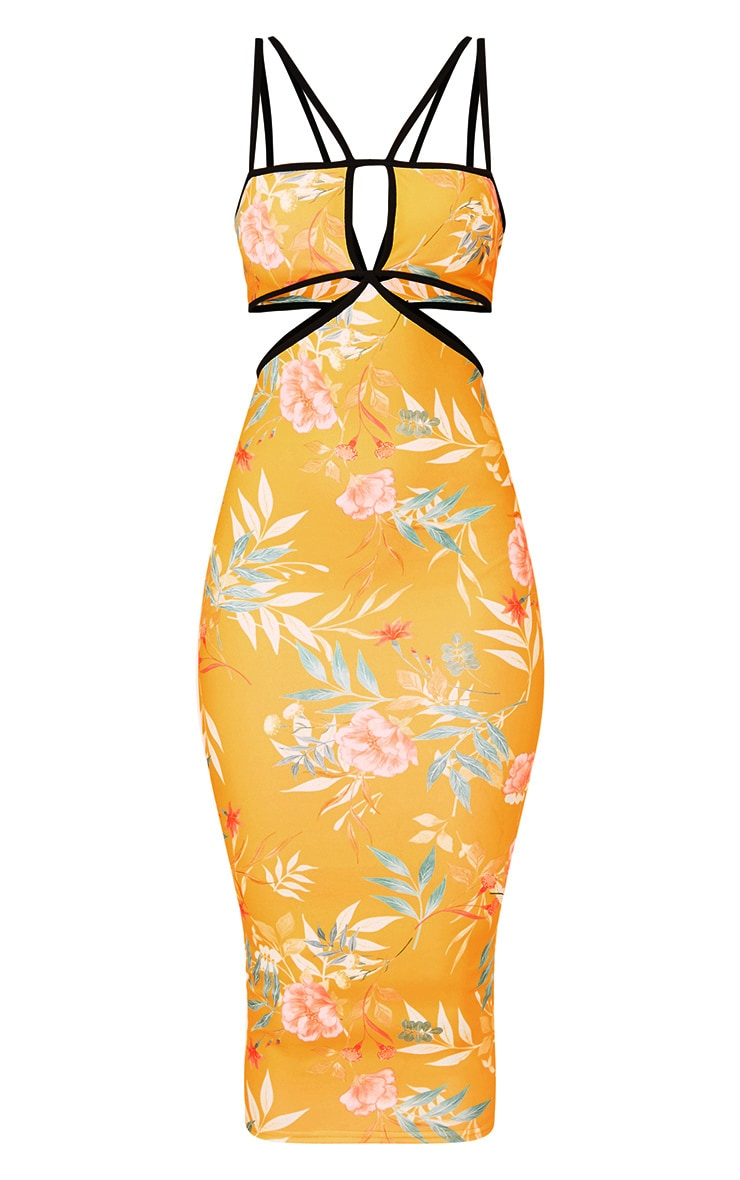 Yellow Floral Cut Out Plunge Midi Dress 3