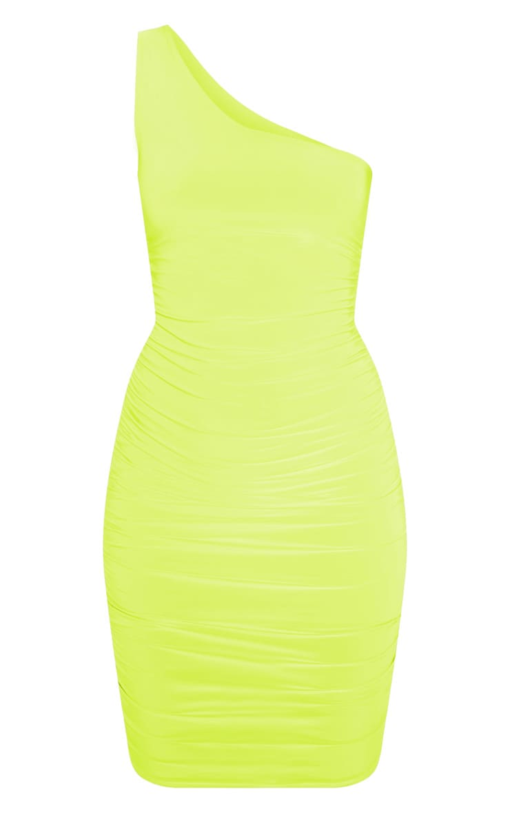 Lime Slinky One Shoulder Ruched Bodycon Dress 3