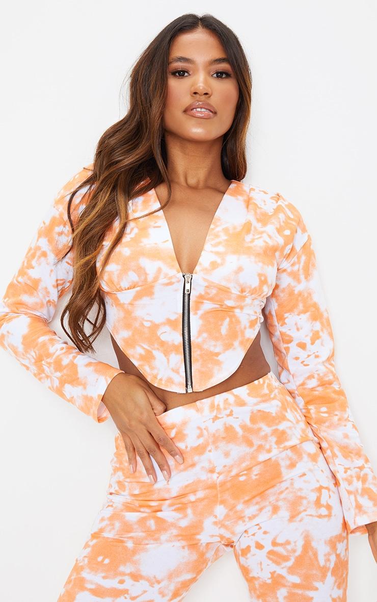 Orange Tie Dye Zip Front Corset Detail Long Sleeve Sweat Top 2