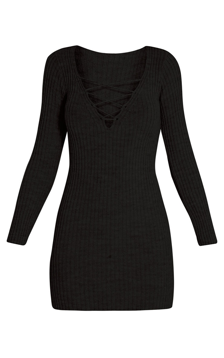 Zosia Black Lace Up Knitted Jumper Dress 3