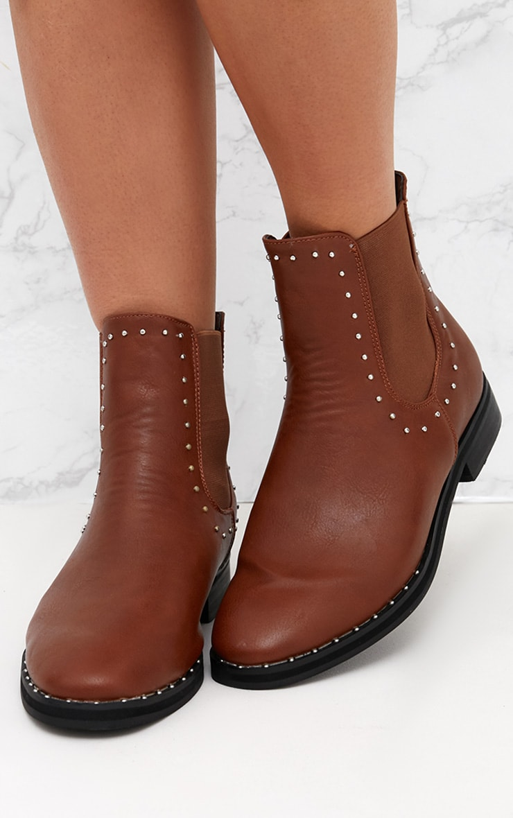 Tan PU Studded Chelsea Boot 2